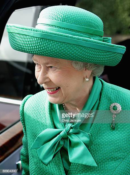 Queen Elizabeth II arrives at Holden Point to view the 2012 Olympic park site along with Tessa Jowell Ken Livingstone and Lord Coe in Stratford on...