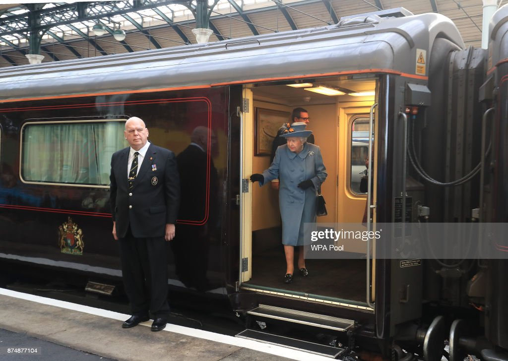 Queen Elizabeth II arrives at Hull Railway Station, during a visit to the city to mark its year as the UK City of Culture on November 16, 2017, in Kingston Upon Hull, England.