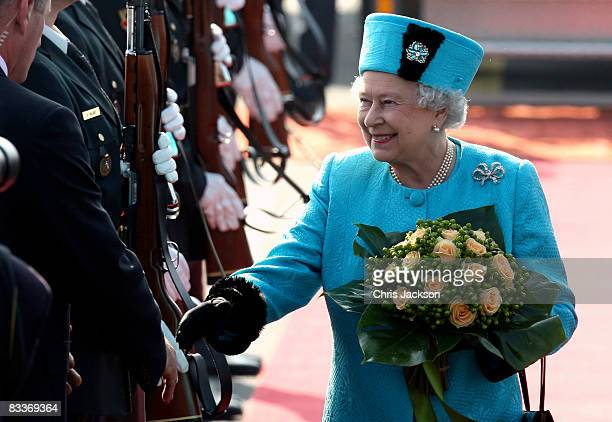 Queen Elizabeth II arrives at Joze Pucnik airport on the first day of a two day tour of Slovenia on October 21 2008 in Ljubljana Slovenia The Queen...