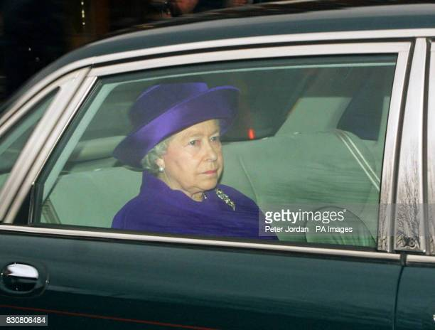 Queen Elizabeth II arrives at Kensington Palace London to pay her private respects at the coffin of her sister Princess Margaret The coffin will be...