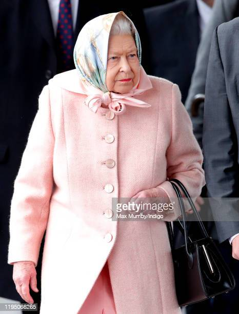 Queen Elizabeth II arrives at King's Lynn railway station, after taking the train from London King's Cross, to begin her Christmas break at...