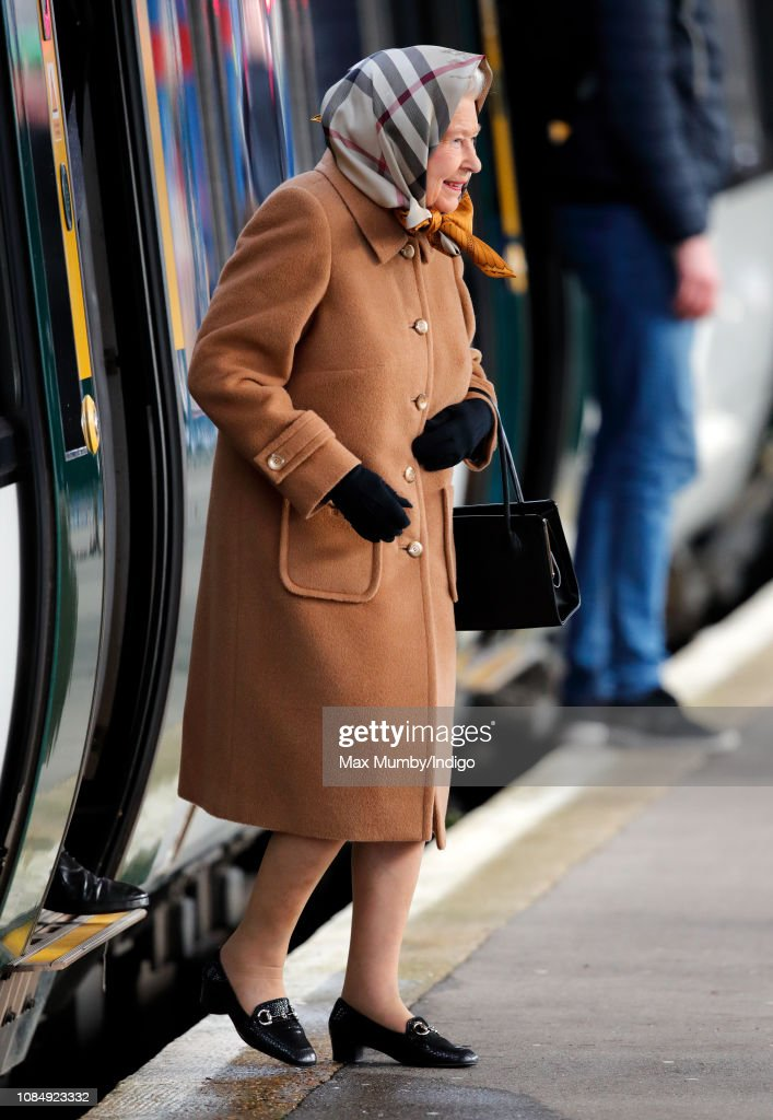 Queen Elizabeth II Arrives At King's Lynn Station : News Photo