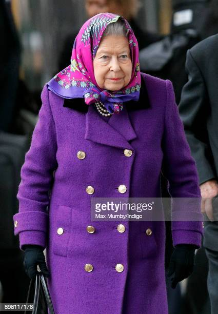Queen Elizabeth II arrives at King's Lynn station after taking the train from London King's Cross to begin her Christmas break at Sandringham House...