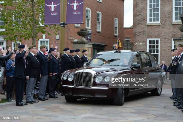 Queen Elizabeth II arrives at Leicester Cathedral to distribute the traditional Maundy money to 91 men and 91 women as part of the Royal Maundy...