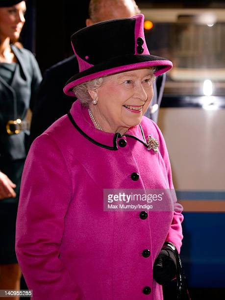 Queen Elizabeth II arrives at Leicester Train Station to begin a visit to the city on the first date of her Diamond Jubilee tour of the UK on March...