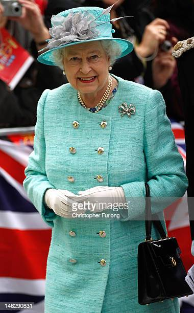 Queen Elizabeth II arrives at Nottingham Town Hall during her visit to the East Midlands on June 13 2012 in Nottingham England The Queen was...
