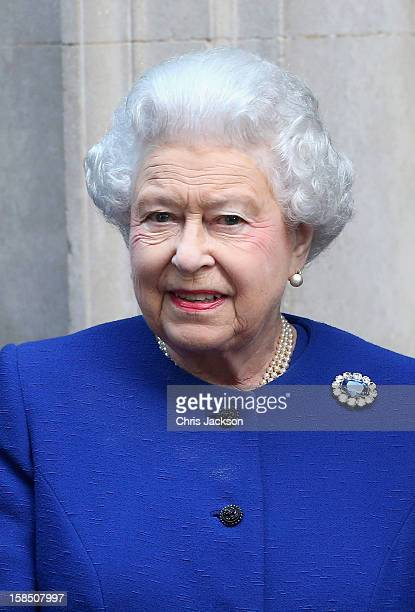 Queen Elizabeth II arrives at Number 10 Downing Street to attend the Government's weekly Cabinet meeting on December 18 2012 in London England