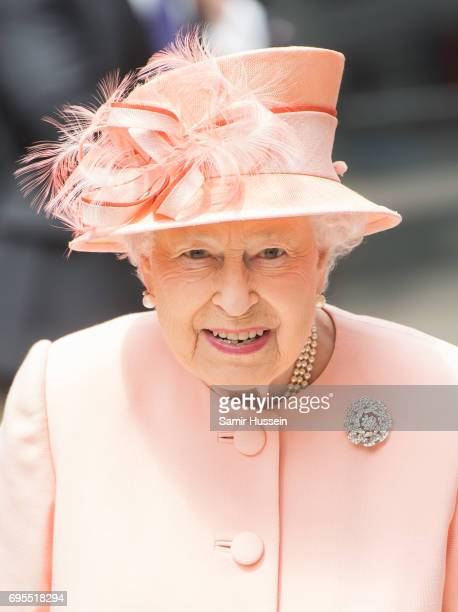 Queen Elizabeth II arrives at Paddington station by train to mark the 175th anniversary of the first train journey by a British Monarch on June 13...