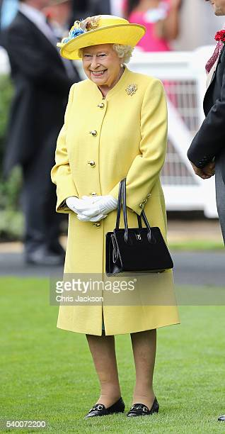 Queen Elizabeth II arrives at Royal Ascot 2016 at Ascot Racecourse on June 14 2016 in Ascot England