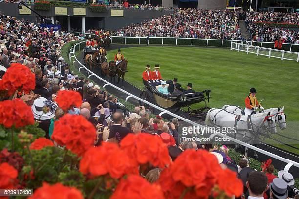 'HRH Queen Elizabeth II arrives at Royal Ascot Race Course Ascot UK on Thursday June 18 2009 Photo Tim Clayton '
