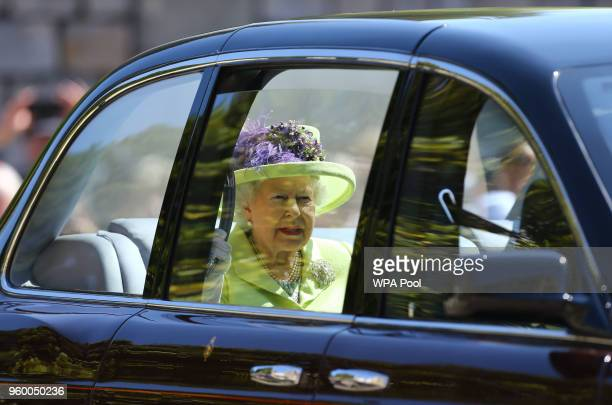 Queen Elizabeth II arrives at St George's Chapel at Windsor Castle before the wedding of Prince Harry to Meghan Markle on May 19 2018 in Windsor...