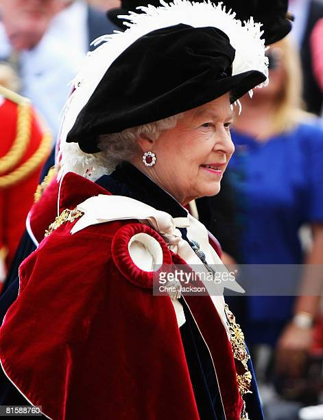 Queen Elizabeth II arrives at St George's Chapel during Garter Day the 660th Anniversary Service on June 16 2008 in Windsor England Prince William...