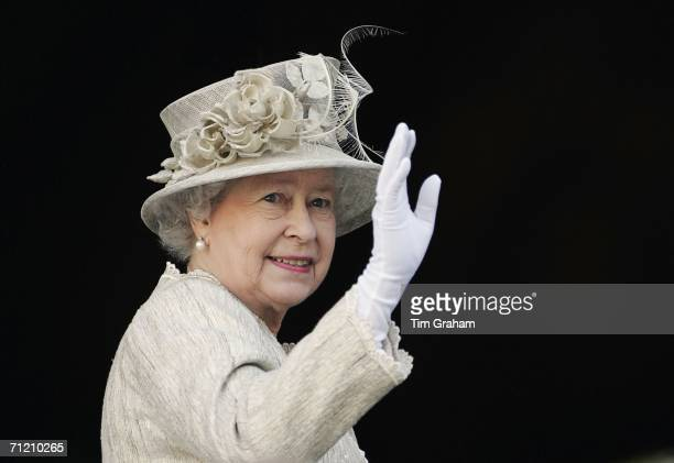 Queen Elizabeth II arrives at St Paul's Cathedral for a service of Thanksgiving held in honour of her 80th birthday June 15 2006 in London England
