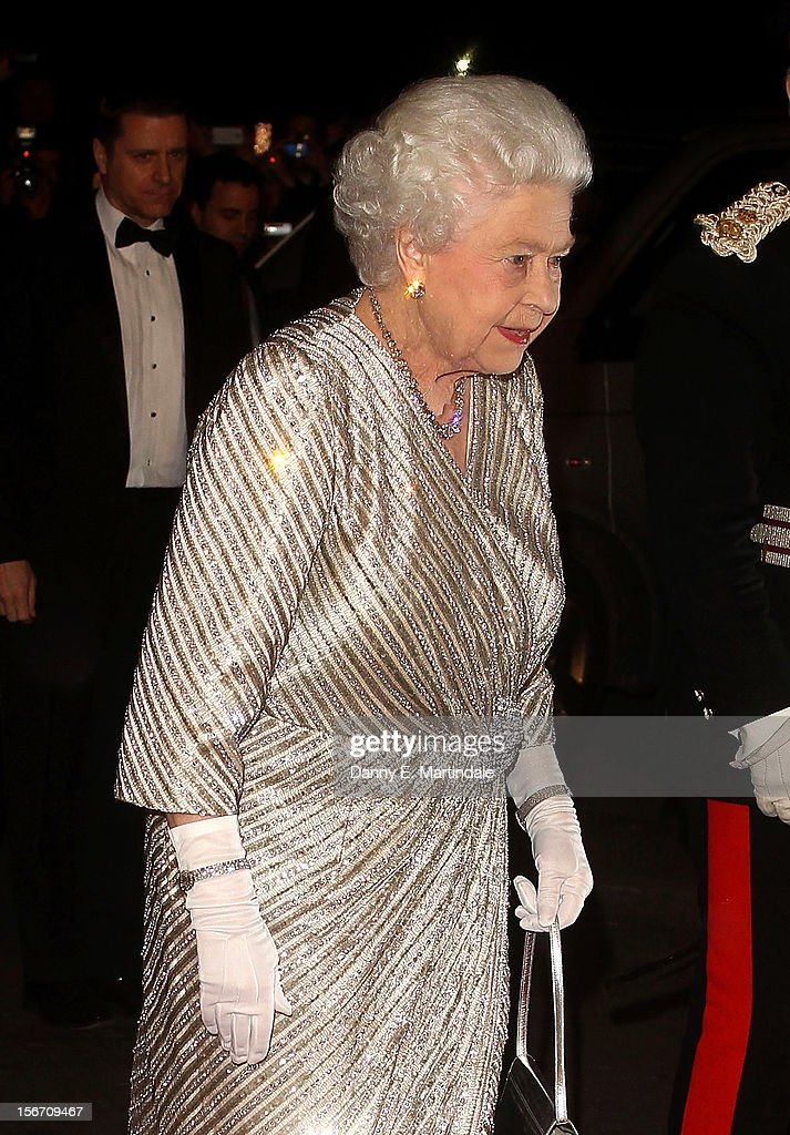 Queen Elizabeth II arrives at the at Royal Albert Hall for the Royal Variety performance on November 19, 2012 in London, England.
