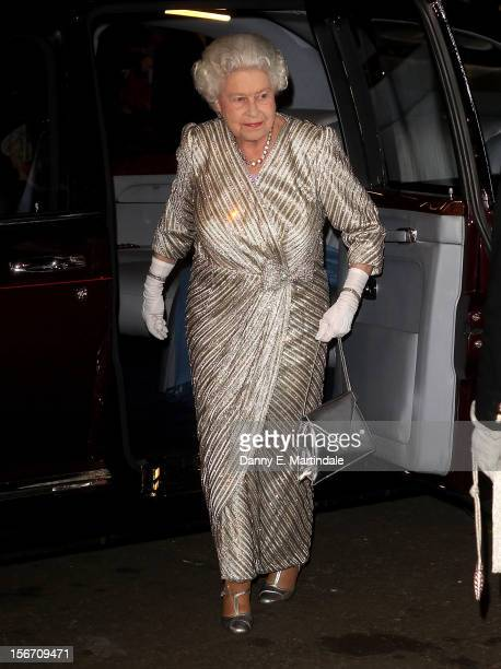 Queen Elizabeth II arrives at the at Royal Albert Hall for the Royal Variety performance on November 19 2012 in London England