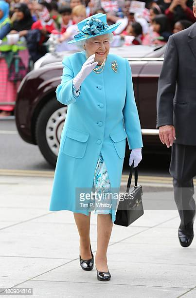 Queen Elizabeth II arrives at the Broadway Theatre on July 16 2015 in Barking United Kingdom