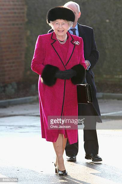 Queen Elizabeth II arrives at the Carole Brown Health Centre on February 3, 2009 in Dersingham, England. The Queen attended to open the centre on her...