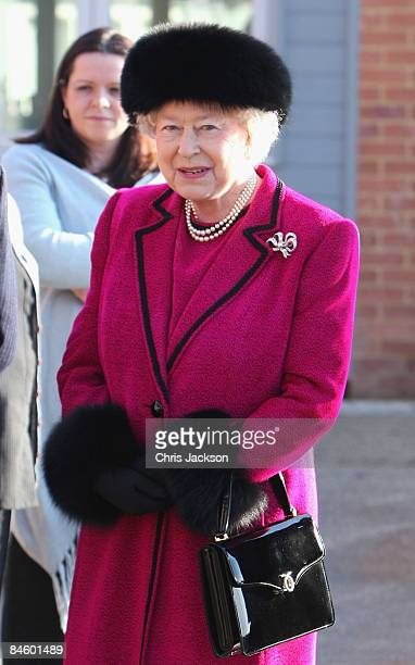 Queen Elizabeth II arrives at the Carole Brown Health Centre on February 3 2009 in Dersingham England The Queen attended to open the centre on her...