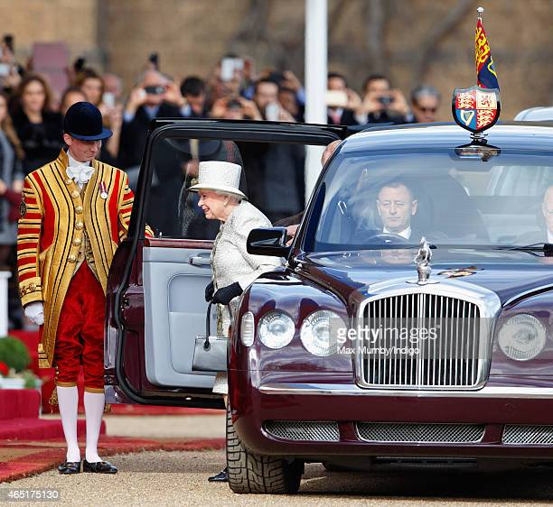 Queen Elizabeth II arrives at the Ceremonial Welcome for Mexican President Enrique Pena Nieto at Horse Guards Parade during day 1 of his state visit...