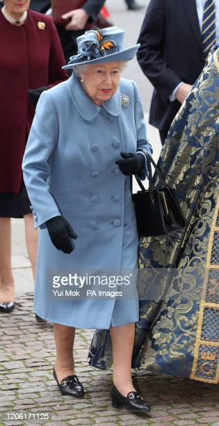 Queen Elizabeth II arrives at the Commonwealth Service at Westminster Abbey London on Commonwealth Day The service is the Duke and Duchess of...