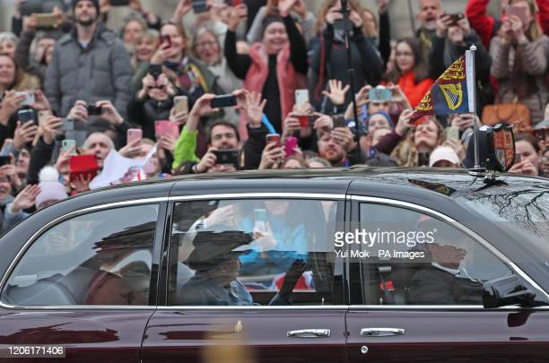 Queen Elizabeth II arrives at the Commonwealth Service at Westminster Abbey, London on Commonwealth Day. The service is the Duke and Duchess of...