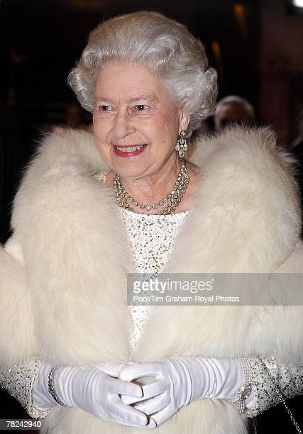 Queen Elizabeth II arrives at the Empire Theatre for the 2007 Royal Variety Performance on Dec 3 2007 in Liverpool England