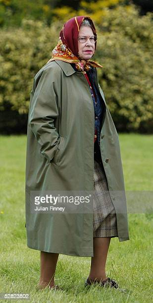 Queen Elizabeth II arrives at the Frogmore Ring to watch her horse, Balmoral Jingle , compete in the Ridden Mountain and Moorland event in the...