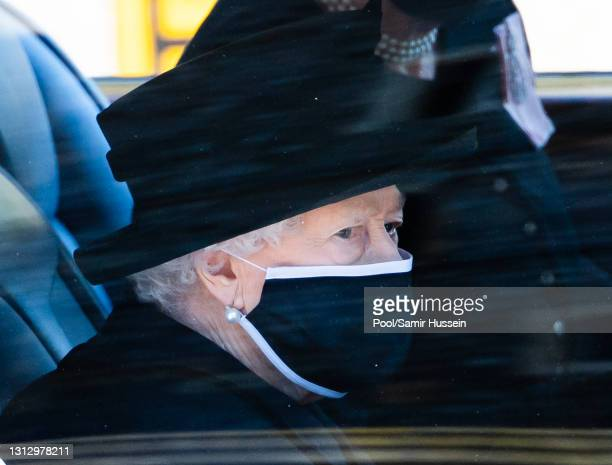 Queen Elizabeth II arrives at the funeral of Prince Philip, Duke of Edinburgh on April 17, 2021 in Windsor, England. Prince Philip of Greece and...