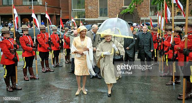 Queen Elizabeth II arrives at the Garrison on June 28 2010 in Halifax Canada The Queen and Duke of Edinburgh are on an eight day tour of Canada...