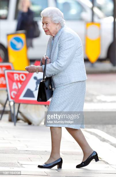 Queen Elizabeth II arrives at the Goring Hotel to attend a Christmas lunch for her close members of staff on December 11 2018 in London England