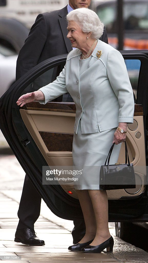 Queen Elizabeth II arrives at the Goring Hotel to attend a Christmas Lunch for her close members of staff on December 03, 2012 in London, England.
