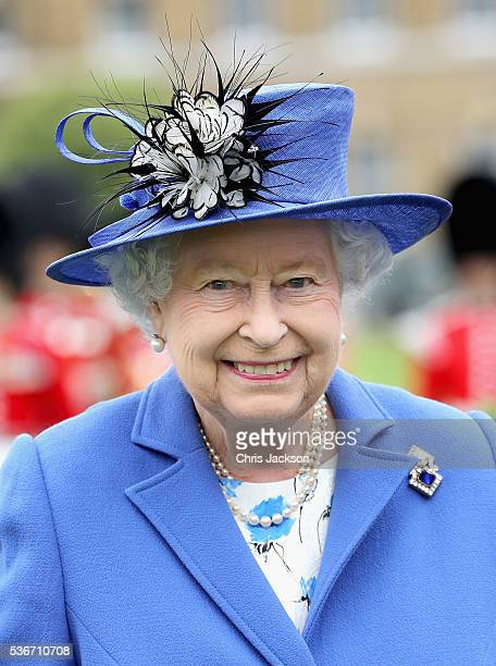 Queen Elizabeth II arrives at the Honourable Artillery Company on June 1, 2016 in London, England. The engagement marks the Queen becoming the...