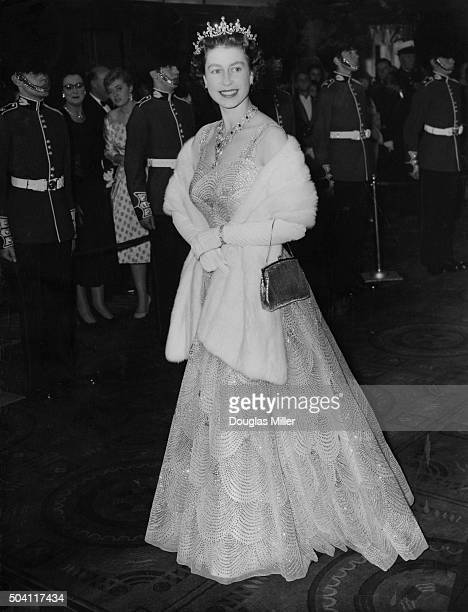 Queen Elizabeth II arrives at the Odeon Leicester Square for the premiere of Peter Glenville's comedy 'Me And The Colonel' London 27th October 1958