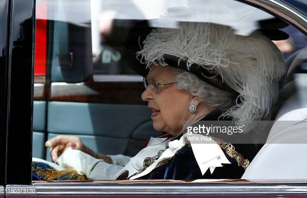 Queen Elizabeth II arrives at the Order of the Garter Service at St George's Chapel in Windsor Castle on June 17 2019 in Windsor England The Order of...