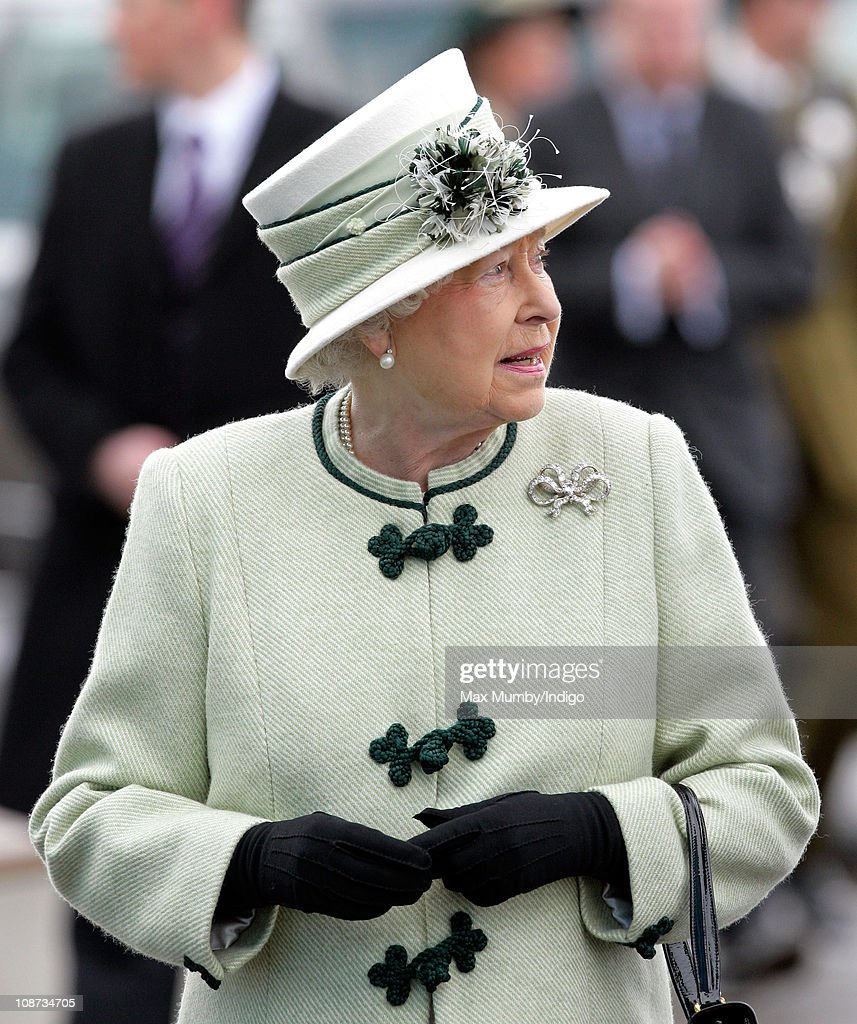 Queen Elizabeth II arrives at the Palm Paper mill on February 2, 2011 in Norwich, England. The Queen and the Duke of Edinburgh are visiting several sites today, including the Palm Paper mill and West Norfolk Deaf Association in King's Lynn.