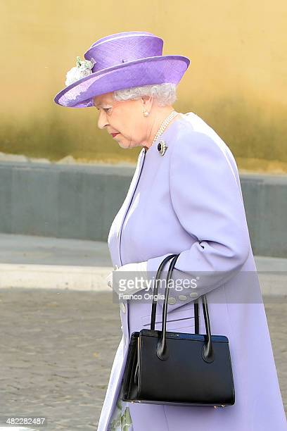 Queen Elizabeth II arrives at the Paul VI Hall for a meeting with Pope Francis on April 3 2014 in Vatican City Vatican During their brief visit The...