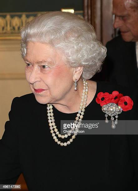 Queen Elizabeth II arrives at the Royal Albert Hall during the Annual Festival of Remembrance on November 7 2015 in London England