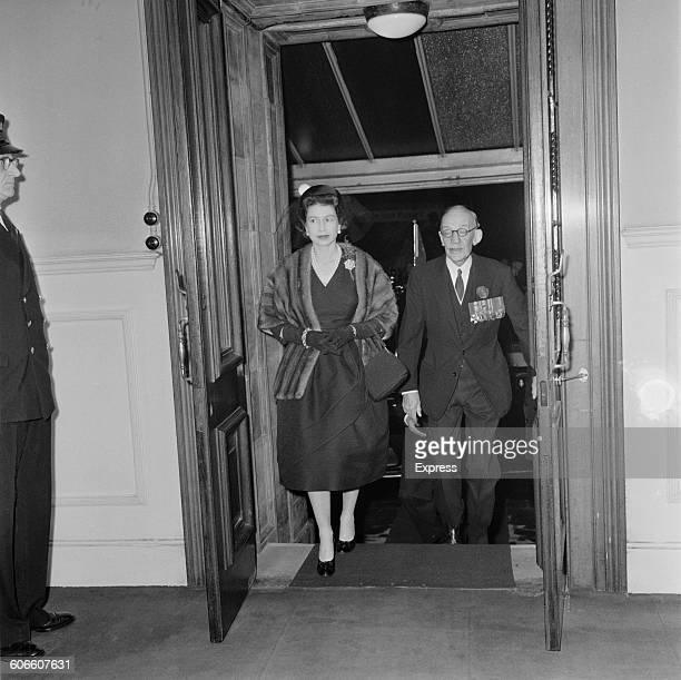 Queen Elizabeth II arrives at the Royal Albert Hall in London for a Remembrance service November 1960
