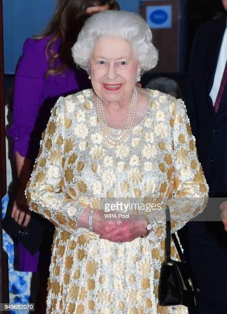 Queen Elizabeth II arrives at the Royal Albert Hall to attend a starstudded concert to celebrate her 92nd birthday on April 21 2018 in London England...