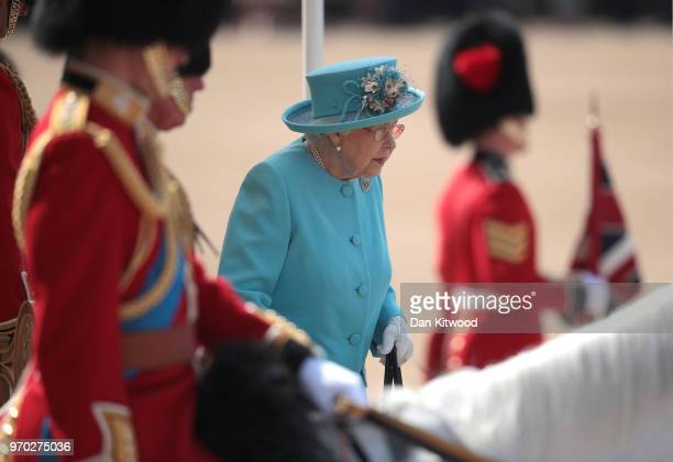 Queen Elizabeth II arrives at The Royal Horseguards during Trooping The Colour ceremony on June 9 2018 in London England The annual ceremony...