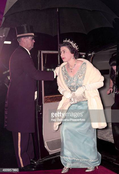 Queen Elizabeth II arrives at the Royal Opera House in Covent Garden, London on 24th October 1968.
