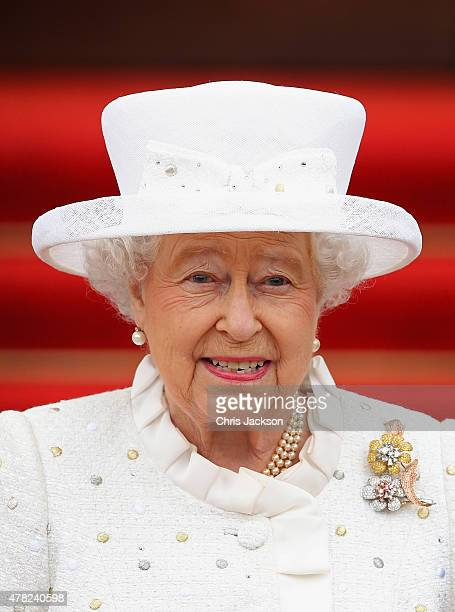 Queen Elizabeth II arrives at the Schloss Bellevue Palace on the second day of a four day State Visit on June 24, 2015 in Berlin, Germany.