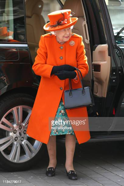 Queen Elizabeth II arrives at the Science Museum on March 07, 2019 in London, England.