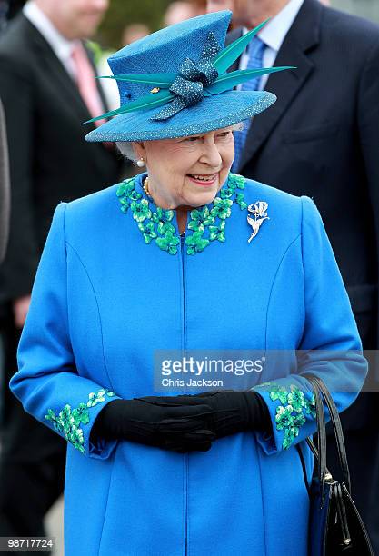 Queen Elizabeth II arrives at Welshpool train station on April 28, 2010 in Welshpool, Wales. The Queen and Duke of Edinburgh are on a two day visit...