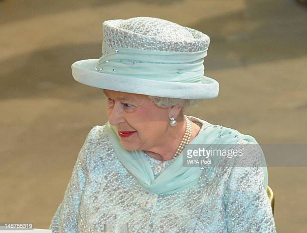 Queen Elizabeth II arrives at Westminster Hall at the Palace of Westminster for the Diamond Jubilee Lunch on June 5, 2012 in London, England. For...