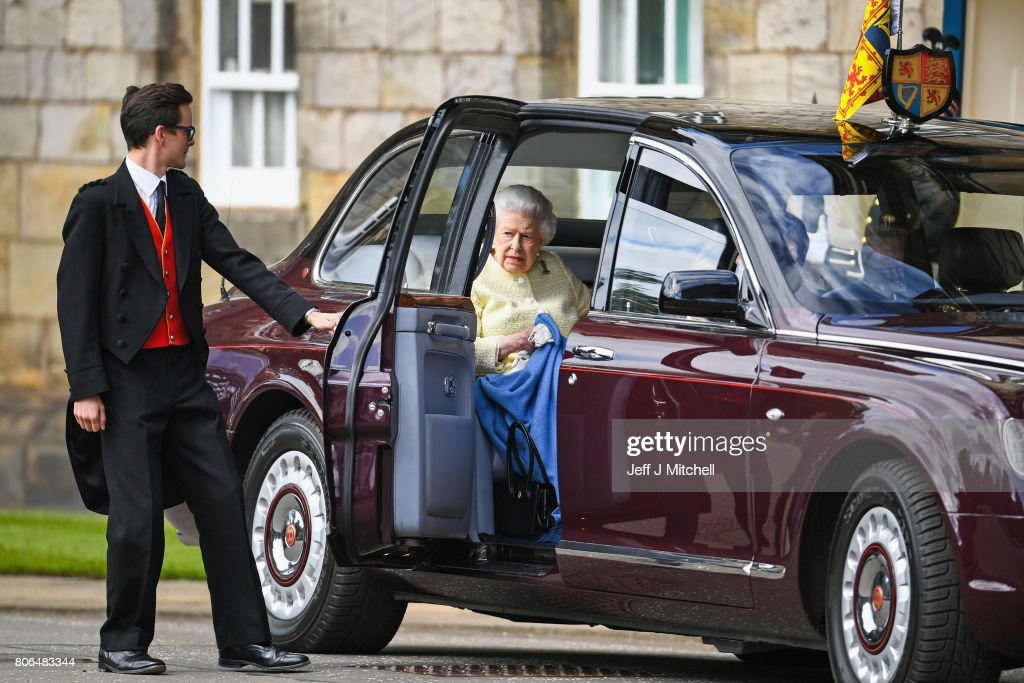 Queen Elizabeth II arrives by car before she inspects the guard of honour, Balaklava Company, The Argyll and Sutherland Highlanders, 5th Battalion The Royal Regiment of Scotland during the traditional Ceremony of the Keys at Holyroodhouse on July 3, 2017 in Edinburgh, Scotland. The Queen will undertake various engagements in Edinburgh during the annual 'Holyrood week'.