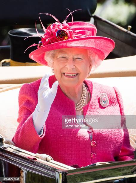 Queen Elizabeth II arrives by carriage as she attends Royal Ascot Day 3 at Ascot Racecourse on June 21, 2018 in Ascot, United Kingdom.