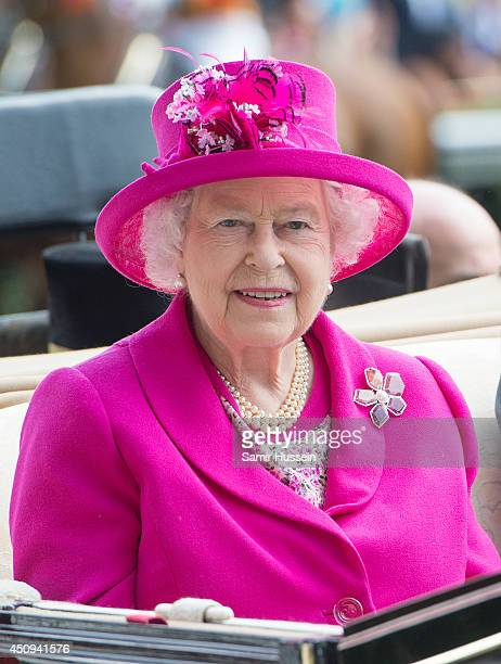 Queen Elizabeth II arrives by carriage on Day 4 of Royal Ascot at Ascot Racecourse on June 20 2014 in Ascot England