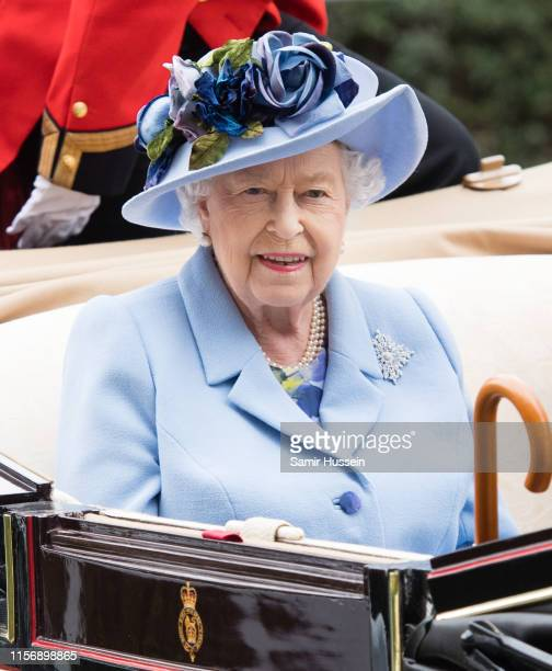 Queen Elizabeth II arrives by carriage on day one of Royal Ascot at Ascot Racecourse on June 18, 2019 in Ascot, England.
