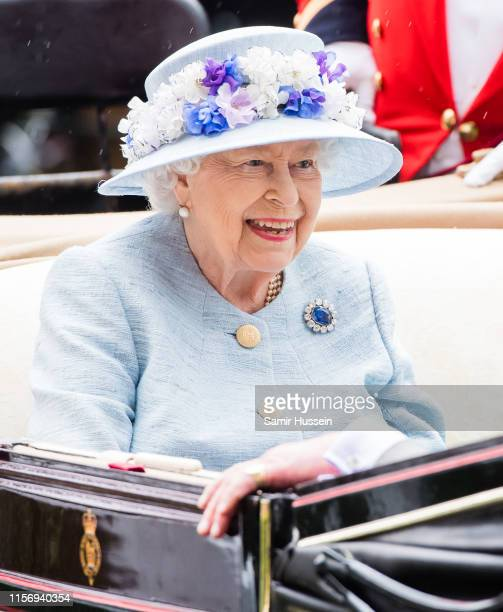 Queen Elizabeth II arrives by carriage on day two of Royal Ascot at Ascot Racecourse on June 19, 2019 in Ascot, England.